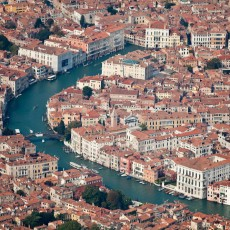 The Grand Canal is a main transportation corridor through the dense urban core.
