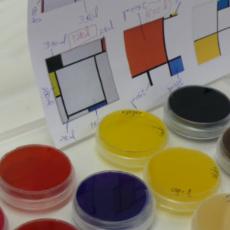 L'artiste portugaise Marta de Menesis utilise des bactéries qui décolorent la solution colorée avec laquelle les tableaux sont peints.